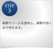 STEP3 麻酔クリームを塗布し、麻酔が効くまで待ちます。